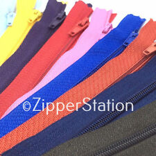 "FREE P/&P X6 ZIPS 9/"" 23CM CLOSED END NYLON VARIOUS COLOURS AVAILABLE"