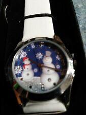 Avon-Tis the Season Snowmen Watch-Quartz-Snowflakes on a blue watch face