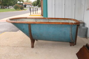 Rare Original Antique 1800's Victorian Zinc Bath Tub Bathtub With Oak Top Ring