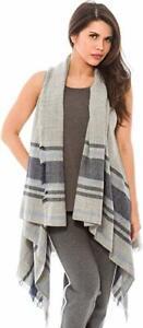 Women's Fashion Wrap Sleeveless Shawl Vest Hem Wrap Front Open Cardigan