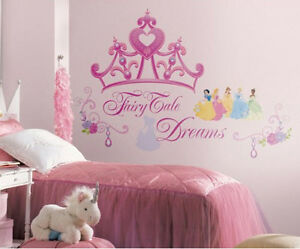 Disney Princess CROWN wall stickers MURAL 18 decals 17x22 inches room decor