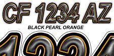 BLACK ORANGE Custom Boat Registration Numbers Decals Vinyl Lettering Stickers