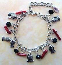 Bettelarmband Gliederarmband mit Anhänger Fisch rot 2168