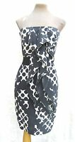 Reiss Black and white pure silk ruffle bandeau mini cocktail dress UK 6 Petite