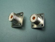 2/ea SILVER PLATED TEFLON SO-239 SO239 CHASSIS MOUNT COAX CONNECTOR - NEW