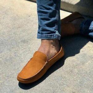 Handmade Men's Genuine Tan Suede Loafer Moccasin Shoes