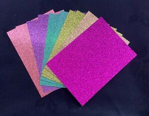 10 x Glitter Card Sheets-A6/C6 300gsm -Sparkling Pink/Gold/Teal/SMALL/DEFECTS