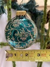 Vintage Krebs Green w/Gold Mica Glitter Glass Christmas Ornament W Germany 2-1/2