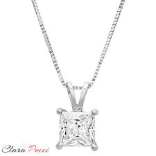 "2.0Ct Princess Cut 14K White Gold Solitaire Pendant Necklace Box With 16"" Chain"