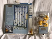 JUBILEE Fabric Shower Curtain 70 X 71 Yellow Rubber Duck & 12 Resin Hooks *NIP*