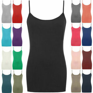 Ladies Strappy Plain Bodycon Cami Vest Tank Top Sleeveless Camisole Mini Dress