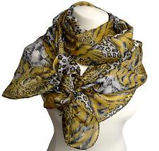 exklusiver Seidenschal 100% Seide Katzen Tiger Leopard gelb grau Schal 539