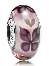 Genuine Pandora Pink Butterfly Silver Murano Glass Charm - 791621