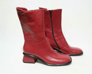 SUZETTE EXPORT Size 9 Womens Red Leather High Class Mid-Calf Boots
