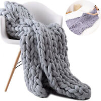 Chunky Knit Blanket Chenille Throw Warm Soft Cozy for Sofa Bed Boho Home  Gift