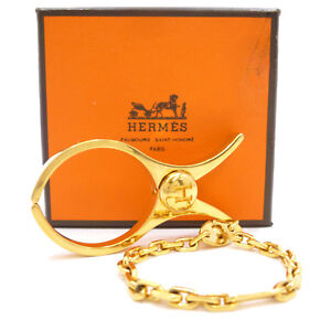 Authentic HERMES H LOGO Glove Holder Gold Brass #S112039