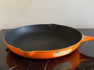 Le Creuset Orange Cast Iron #30 Skillet Fry Pan with Double Spout