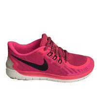 Nike Free 5.0 Girls sz 7Y Pink Black Running Shoes Sneakers 725114-600