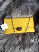 Ladies New Look Mustard Clutch Bag Block Metal Detail With Chain Shoulder Strap