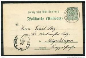 Germany/Wurttemberg 1902 Postal Stationary Card (Reply)