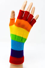 "8"" RAINBOW EMO GOTH PUNK COSTUME COSPLAY ROCKABILLY STRIPED FINGERLESS GLOVES"