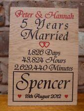 Personalised 5th Wedding Anniversary Oak Gift - Oak Wood Anniversary Gift Fifth