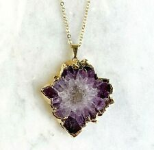 Amethyst Stalactite Slice Pendant - Gold Plated - Necklace Amethyst Flower