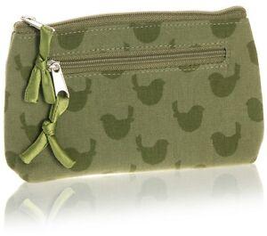 Green Coin Purse Linen with Bird design Zip Closure - Fair Trade BNWT