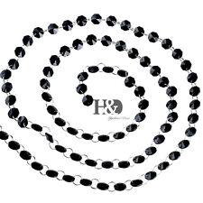 6FT Black Crystal Chandelier Prism Lamp Octagon Bead Chain Wedding Pendant H22