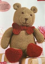KNITTING PATTERN Teddy Bear with Heart Shaped Feet & Bow Tie 23cm tall Patons