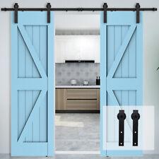 Sliding Barn Door Hardware Kit 4-20Ft Modern Closet Hang Style Track Rail Black
