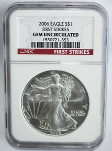 2006 American Silver Eagle One Dollar Coin $1 US Certified First Strikes UNC