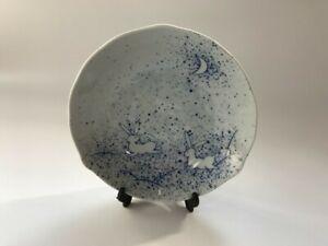 T1196 Japanese Pottery Dish Plate Vintage Signed Tachikichi Rabbit Crescent Moon