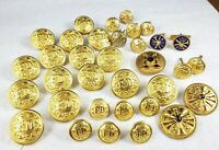 Large Lot Of Vintage 1960s Fire Department Brass Buttons Some Enameled