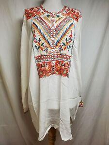 nwot Johnny Was BIYA Loreta Tunic Top XL White Silk Colorful Embroidered Sheer