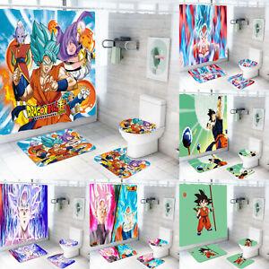 Dragon Ball Z 4PCS Bathroom Rugs Set Shower Curtain Bath Mat Toilet Lid Cover