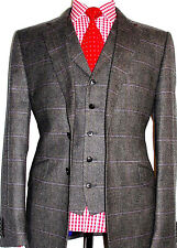 BNWT MENS DUCHAMP LONDON TAILOR-MADE BROWN BOX CHECK TWEED 3 PIECE SUIT 44R W38