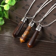 Wholesale 18K White Gold Plated Natural Tiger Eye Arrow Pendant Necklace