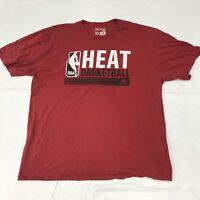 🌴Adidas Miami Heat Basketball Men's 2XL Red Short Sleeve Graphic T-Shirt🌴