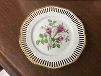 "Winterling Bavaria Reticulated 7-1/2"" Hand Painted Plate Roses"