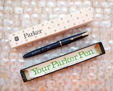 PARKER SLIMFOLD FOUNTAIN PEN 14K FINE NIB BLUE UNINKED MINT NOS CHALK MARKS BOX!