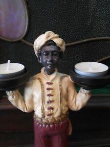 Deko Figur Mohr mit 2 Teelichtern, tolle Ausarbeitung, neu ohne Beschädigungen