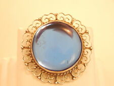 Vintage Jewellery - Sterling Silver & Blue Glass Brooch/Pendant -Deceased Estate