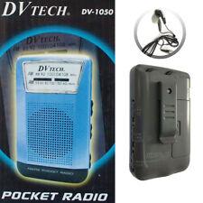 Radio Portátil de Bosillo Clip Cinturón +Auriculares Dos Bandas AM/FM Pila AAA
