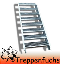 8 Stufen Stahltreppe Breite 80 cm Geschosshöhe 120-160cm inkl. Zubehör