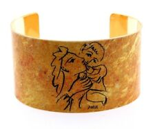"""1.5"""" Wide Picasso Mother & Child Cuff Metal Bangle, Gold Background, 7-8"""""""