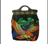 VTG 80s Gorgeous Micro Beaded Tote Bag Lucite Handles Eagle Floral Pattern BOHO