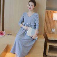 New Maternity Long Dress V Neck Zipper Skirt Pregnant Women Spring Soft Clothing
