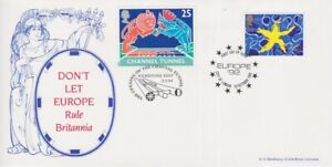 GB STAMPS CHANNEL TUNNEL FIRST DAY COVER 1992-4 DONT LET EUROPE RULE BRITANNIA