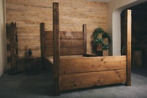 Rustic country cottage solid bed 4 post